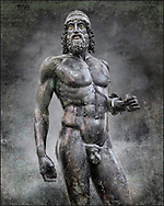 The Riace bronze Greek statue A cast about 460 BC. Museo Nazionale della Magna Grecia,  Reggio Calabria, Italy. Wall art print by Photographer Paul E Williams .<br /> <br /> If you prefer visit our World Gallery Print Shop To buy a selection of our prints and framed prints desptached  with a 30-day money-back guarantee and is dispatched from 16 high quality photo art printers based around the world. ( not all photos in this archive are available in this shop) https://funkystock.photoshelter.com/p/world-print-gallery