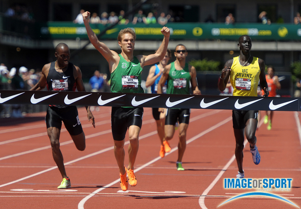 Jun 26, 2011; Eugene, OR, USA; Nick Symmonds (center) defeats Khadevis Robinson (left) and Charles Jock (right) to win the 800m in 1:44.17 in the 2011 USA Championships at Hayward Field.