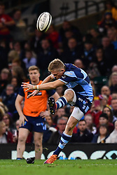 27th April 2019 , Principality Stadium , Cardiff, Wales ; Guinness pro 14's, Round 21, Cardiff Blues Vs Ospreys ; Gareth Anscombe of Cardiff Blues kicks a penalty<br /> <br /> Credit :  Craig Thomas/Replay Images