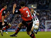 Photo. Glyn Thomas, Digitalsport<br /> West Bromwich Albion v Blackburn Rovers. <br /> Barclays Premiership. 26/04/2005.<br /> West Brom's Ronnie Wallwork (R) shoots narrowly wide.
