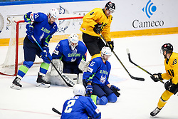 Anze Kopitar of Slovenia, Luka Gracnar of Slovenia, Blaz Gregorc of Slovenia, Dainius Zubrus of Lithuania and Arnoldas Bosas of Lithuania during ice hockey match between Slovenia and Lithuania at IIHF World Championship DIV. I Group A Kazakhstan 2019, on May 5, 2019 in Barys Arena, Nur-Sultan, Kazakhstan. Photo by Matic Klansek Velej / Sportida
