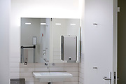 clean modern style public restroom
