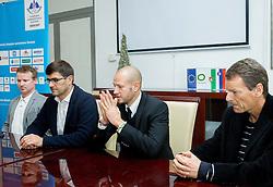 Peter Prelc, Matjaz Rakovec, Dejan Kontrec and Tone Jogodic during press conference of Slovenian Ice hockey Federation HZS, on December 27, 2013 in Hala Tivoli, Ljubljana, Slovenia.  Photo by Vid Ponikvar / Sportida