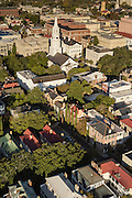 Aerial view of the historic district of Charleston, South Carolina.