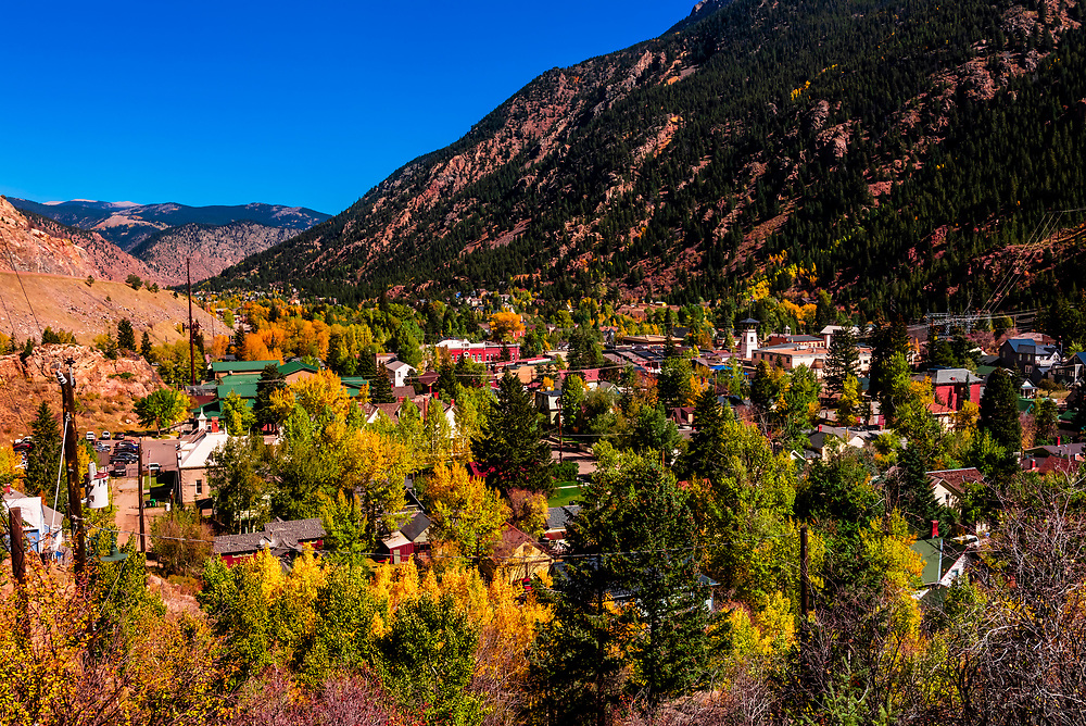 Overview of the historic town of Georgetown, Colorado at 8,530 feet in the Rocky Mountains. The former silver mining camp along Clear Creek in the Front Range of the Rocky Mountains was established in 1859 during the Pike's Peak Gold Rush.