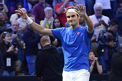 September 22, 2018 - Chicago, Illinois, United States - ROGER FEDERER waves to the crowd after his win over N. Kyrgios in the 2018 Laver Cup tennis event in Chicago. (Credit Image: © Christopher Levy/ZUMA Wire)