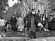 Paris during Covid 19 pandemic. pedestrians with covid mask in  the streets