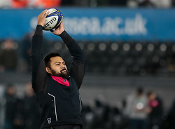 Saracens' Christopher Tolofua during the pre match warm up<br /> <br /> Photographer Simon King/Replay Images<br /> <br /> European Rugby Champions Cup Round 5 - Ospreys v Saracens - Saturday 13th January 2018 - Liberty Stadium - Swansea<br /> <br /> World Copyright © Replay Images . All rights reserved. info@replayimages.co.uk - http://replayimages.co.uk