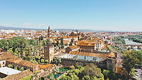 Aerial view of colourful famous ancient city Cordoba with beautiful roofs, Spain