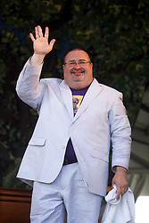 """29 April 2012. New Orleans, Louisiana,  USA. <br /> New Orleans Jazz and Heritage Festival. <br /> John """"Papa"""" Gros of Papa Grows Funk.<br /> Photo credit; Charlie Varley/varleypix.com"""
