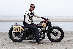 Craig Roberts of Alberta, Canada with his Chinook Wind 1945 Harley-Davidson Knucklehead racer at TROG (The Race Of Gentlemen). Wildwood, NJ. USA. Sunday June 10, 2018. Photography ©2018 Michael Lichter.