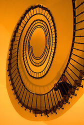 The uniquely surreal spiral stair case viewed from the ground floor of the newly renovated Hotel Amigo, located on the Grand Place, in the center of Brussels. (Photo © Jock Fistick)