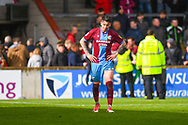 Adam Hammill of Scunthorpe United (47) reacts after losing 3-2 during the EFL Sky Bet League 1 match between Scunthorpe United and Bradford City at Glanford Park, Scunthorpe, England on 27 April 2019.