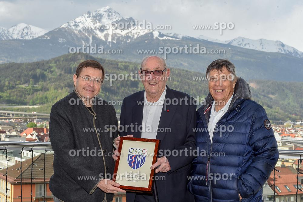 26.04.2019, Innsbruck, AUT, Weltverband der Sportmedizin ehrt Dr. Raas, im Bild Pigozzi Fabio Präs. FIMS (Weltverband Sportärzte)überreichte Prof. Ernst Raas (Medizinische Betreuung ÖSv) ein Ehrengeschenk für fünrzig Jährige Mitgliedschaft in Beisein von ÖSV Präs. Peter Schöcksnadel // during the ceremony at the World Association of Sports Medicine. Innsbruck, Austria on 2019/04/26. EXPA Pictures © 2019, PhotoCredit: EXPA/ Erich Spiess
