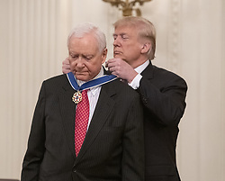 November 16, 2018 - Washington, District of Columbia, U.S. - United States President Donald J. Trump awards the Presidential Medal of Freedom to US Senator Orrin Hatch (Republican of Utah) during a ceremony in the East Room of the White House in Washington, DC on Friday, November 16, 2018.  The award is the nation's highest civilian honor and is awarded by the President to individuals who made meritorious contributions to the United States  (Credit Image: © Ron Sachs/CNP via ZUMA Wire)