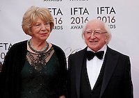 Sabina Higgins and The President of Ireland, Michael D Higgins at the IFTA Film & Drama Awards (The Irish Film & Television Academy) at the Mansion House in Dublin, Ireland, Saturday 9th April 2016. Photographer: Doreen Kennedy