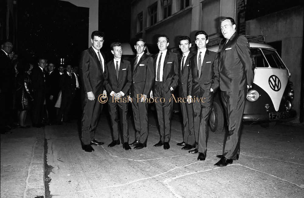 Royal Showband at the Crystal Ballroom, in the suits which were made specially for their forthcoming American tour by Premier Tailors.  The suits are part of the entire wardrobe which the boys will wear on the trip..10.06.1964, Volkswagen