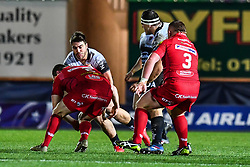 Toulon's Facundo Isa is tackled by Scarlets' Ken Owens<br /> <br /> Photographer Craig Thomas/Replay Images<br /> <br /> European Rugby Champions Cup Round 5 - Scarlets v Toulon - Saturday 20th January 2018 - Parc Y Scarlets - Llanelli<br /> <br /> World Copyright © Replay Images . All rights reserved. info@replayimages.co.uk - http://replayimages.co.uk