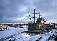 An Old Boat In An Old Boat Junk Yard At Homer Alaska, Kenai Peninsula, USA