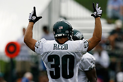Bethlehem, PA - August 2nd 2008 - Safety JR Reed raises his hands in celebration during the Philadelphia Eagles Training Camp at Lehigh University (Photo by Brian Garfinkel)
