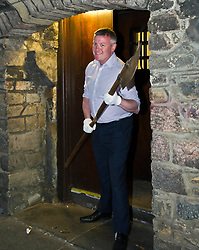 Pictured: Museum Assistant David Mclay defends the town with a halberd<br /> <br /> The latest Museum of Edinburgh exhibition documents the history of Edinburgh's Town Guard, which brought law and order to the city in the 18th century. Curator Nico Tyack and Museum Assistant David Mclay examined muskets, halberds and drums before the exhibition was opened to the public<br /> <br /> Ger Harley   EEm 15 June 2017