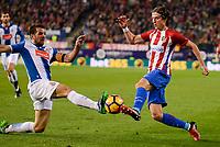 Atletico de Madrid's player Filipe Luis and RCD Espanyol player David Lopez during match of La Liga between Atletico de Madrid and RCD Espanyol at Vicente Calderon Stadium in Madrid, Spain. December 03, 2016. (ALTERPHOTOS/BorjaB.Hojas)