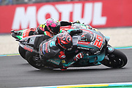 Home fans hero #20 Fabio Quatararo, French: Petronas Yamaha SRT passes #41 Aleix Espargaro, Spanish: Aprilia Racing Team Gresini during racing on the Bugatti Circuit at Le Mans, Le Mans, France on 19 May 2019.