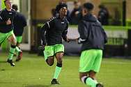 Forest Green Rovers Daniel Ogunleye(11) warming up during the FA Youth Cup match between U18 Forest Green Rovers and U18 Cheltenham Town at the New Lawn, Forest Green, United Kingdom on 29 October 2018.