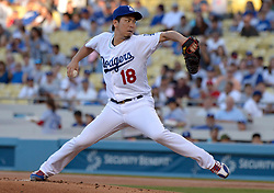 June 27, 2017 - Los Angeles, California, U.S. - Los Angeles Dodgers starting pitcher Kenta Maeda throws to the plate against the Los Angeles Angels in the first inning of a Major League baseball game at Dodger Stadium on Tuesday, June 27, 2017 in Los Angeles. (Photo by Keith Birmingham, Pasadena Star-News/SCNG) (Credit Image: © San Gabriel Valley Tribune via ZUMA Wire)