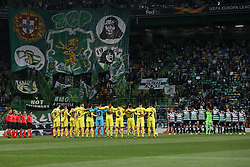 February 14, 2019 - Lisbon, Portugal - Moment in which the two teams make a minute of silence in honor of Emiliano Sala during the Europa League 2018/2019 footballl match between Sporting CP vs Villarreal FC. (Credit Image: © David Martins/SOPA Images via ZUMA Wire)