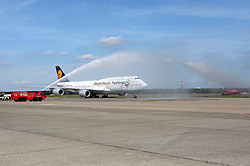 15.07.2014, Flughafen Tegel, Berlin, GER, FIFA WM, Empfang der Weltmeister in Deutschland, Finale, im Bild Der Siegerflieger mit der deutschen Nationalmannschaft an Bord // during Celebration of Team Germany for Champion of the FIFA Worldcup Brazil 2014 at the Flughafen Tegel in Berlin, Germany on 2014/07/15. EXPA Pictures © 2014, PhotoCredit: EXPA/ Eibner-Pressefoto/ Pool<br /> <br /> *****ATTENTION - OUT of GER*****