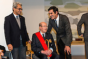 """Movie director Manoel de Oliveira in the ceremony where he receives de distinction of """"Grand Officier de la Légion d'Honneur"""" by the French Ambassador in Portugal, Jean-François Blarel (here accompanied by State Secretary of Culture Jorge Barreiro Xavier (left) and Oporto's mayor Rui Moreira (right)"""