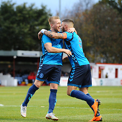 TELFORD COPYRIGHT MIKE SHERIDAN 3/11/2018 - GOAL. Shane Sutton of AFC Telford is congratulated by Darryl Knights of AFC Telford after he scores to make it 1-0 during the Vanarama Conference North fixture between Alfreton Town vs AFC Telford United.