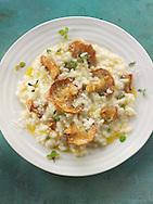 Sauteed wiild organic Pied de Mouton Mushrooms (hydnum repandum) or hedgehog mushroom risotto