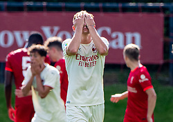 LIVERPOOL, ENGLAND - Wednesday, September 15, 2021: AC Milan's Luca Stanga looks dejected after missing a chance during the UEFA Youth League Group B Matchday 1 game between Liverpool FC Under19's and AC Milan Under 19's at the Liverpool Academy. Liverpool won 1-0. (Pic by David Rawcliffe/Propaganda)