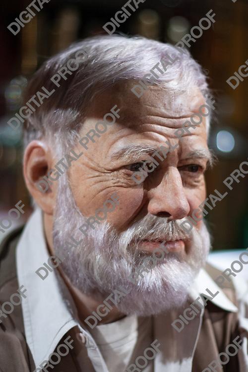 Portrait of Ernest Hemingway wax figure in display museum Grevin in Paris, France