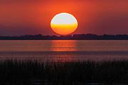 Feb. 18, 2019: Sunset from the east bank on Lake Okeechobee, FL.
