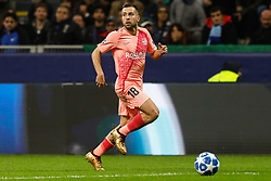 November 7, 2018 - Milan, Italy - Jordi Alba of Barcelona in action during the Group B match of the UEFA Champions League between FC Internazionale and FC Barcelona on November 6, 2018 at San Siro Stadium in Milan, Italy. (Credit Image: © Mike Kireev/NurPhoto via ZUMA Press)