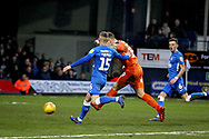 Luton Town FC forward James Collins (19) scores his hat trick goal during the EFL Sky Bet League 1 match between Luton Town and Peterborough United at Kenilworth Road, Luton, England on 19 January 2019.