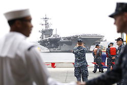 June 23, 2017 - San Diego, CA, USA - The aircraft carrier USS Carl Vinson (CVN 70), arrived at Naval Air Station North Island Friday morning following a five-and-a-half-month deployment to the Western Pacific.  During the deployment, the strike group conducted operations with the Republic of Korea (ROK) Navy and the Japan Maritime Self-Defense Forces. (Credit Image: © John Gastaldo via ZUMA Wire)