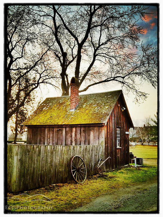 """The cooper's shed at Strawbery Banke living history museum in Portsmouth, New Hampshire. iPhone photo - suitable for print reproduction up to 8"""" x 12""""."""