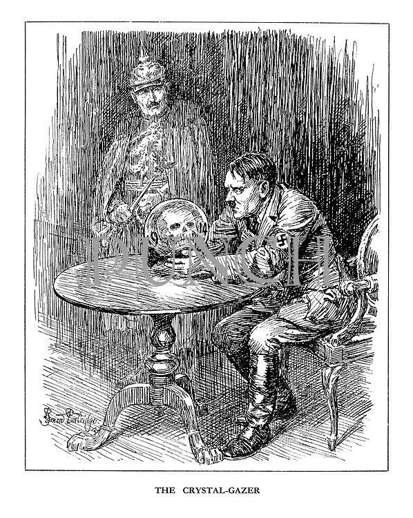 The Crystal-Gazer. (Hitler stares into a crystal ball and sees a skull with the year 1914, as the shade of Wilhelm II looks on)
