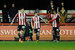 Brentford's Alan Judge celebrates with his team mates after scoring. - Photo mandatory by-line: Dougie Allward/JMP - Tel: Mobile: 07966 386802 28/01/2014 - SPORT - FOOTBALL - Griffin Park - Brentford - Brentford v Bristol City - Sky Bet League One