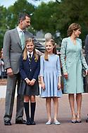 King Felipe VI of Spain, Queen Letizia of Spain, Crown Princess Leonor, Princess Sofia arrived Asuncion de Nuestra Senora Church for the First Communion of Princess Sofia on May 17, 2017 in Aravaca near of Madrid.