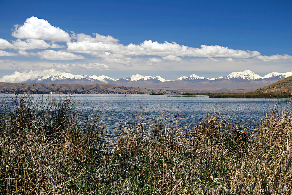 South America, Bolivia, Lake Titicaca. View from floating reed islands of Lake Titicaca.