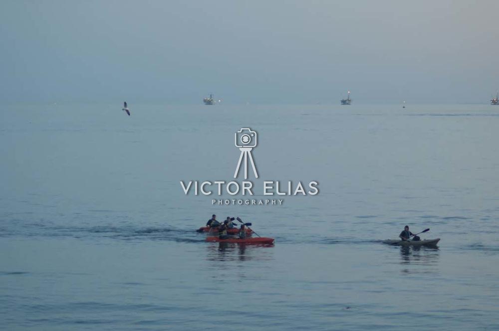Kayakers paddling. Santa Barbara, CA.