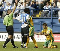 Photo: Aidan Ellis.<br /> Sheffield Wednesday v Norwich City. Coca Cola Championship. 06/05/2007.<br /> Norwich's Darren Huckerby recieves a yelloow card for diving