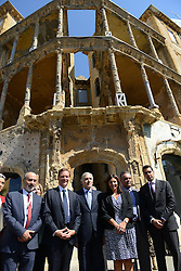 "Beirut Mayor Jamal Itani (3rd from L), French Ambassador to Lebanon Emmanuel Bonne (2nd from L), and Paris Mayor Anne Hidalgo (center) seen during a visit to the ""Beit Beirut"" foundation and museum, also known as ""La Maison jaune"" or ""The Yellow House"", in Beirut, Lebanon, on September 29, 2016. ""Beit Beirut"" is a project that is helped and funded by Paris City to keep a place for the memory of Beirut and of Lebanon's civil war (1975-1990) in this building once located on the ""green line"" that used to separate the city in two parts. Photo by Balkis Press/ABACAPRESS.COM"