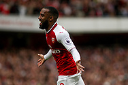 Alexandre Lacazette of Arsenal celebrates after he scores Arsenal's 2nd goal of the game. Premier league match, Arsenal v AFC Bournemouth at the Emirates Stadium in London on Saturday 9th September 2017. pic by Kieran Clarke, Andrew Orchard sports photography.