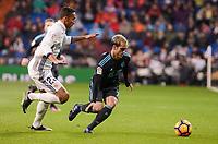 Real Madrid's Danilo Luiz Da Silva and Real Sociedad's Juanmi Jimenez during La Liga match between Real Madrid and Real Sociedad at Santiago Bernabeu Stadium in Madrid, Spain. January 29, 2017. (ALTERPHOTOS/BorjaB.Hojas)